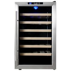Found it at Wayfair - 28 Bottle Single Zone Freestanding Wine Refrigerator Best Wine Refrigerator, Wine Fridge, Sliding Shelves, Wooden Shelves, Conservation, Wine Chiller, Stainless Steel Doors, Wine Cabinets, Wine Storage
