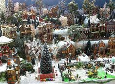 Side view of the completed Christmas Village stand