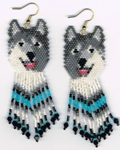 Beaded Laughing Grey Wolf Husky Dog Earrings with Turquoise in Fringe | eBay