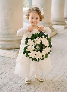 White Classic Grecian Flower Girl
