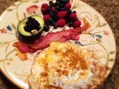 Eggs With Curry and Sea Salt, Berries, Avocado With Caviar, And Bacon: 3/11/14