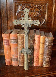 Antique French Processional Cross Bronze Altar Church Jesus Crucifix Religious