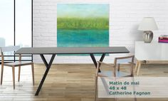 """Oeuvre """"Matin de mai"""" Artiste: Catherine Fagnan www.catherinefagnan.com Mai, Les Oeuvres, Dining Table, Furniture, Home Decor, Abstract Backgrounds, Artist, Modern, Dining Room Table"""