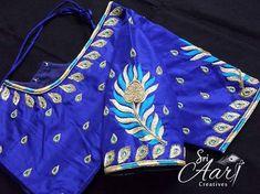 Peacock maggam on dark blue blouse Simple Blouse Designs, Blouse Designs Silk, Simple Designs, Handmade Embroidery Designs, Aari Work Blouse, Maggam Work Designs, Indian Embroidery, Feather Design, Thread Work