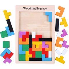 De Madera, Juguetes Bebé Regalo De Madera Nueva inteligencia Triple Juego Tetris deslizante Bloque 1 conjunto