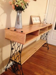 Sewing Machine Media console I built using cypress wood and some old singer sewing machine legs Diy Sewing Table, Sewing Machine Tables, Antique Sewing Machines, Furniture Projects, Furniture Makeover, Diy Furniture, Furniture Design, Diy Projects, Repurposed Furniture