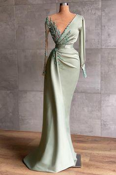 Event Dresses, Ball Dresses, Formal Dresses, Beaded Dresses, Long Dresses, Sexy Evening Dress, Evening Dresses With Sleeves, Tulle Balls, Mint Dress