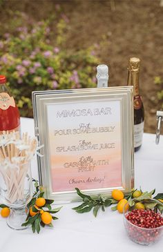 Dip-dyed ombre stationary for mimosa bar