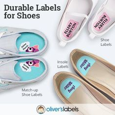 Did you know..... Oliver's Labels carries three different styles of labels for all your shoes and your kiddos shoes: Labels for Kids Shoe Labels - come in left and right foot shapes to help kids put on their own shoes correctly. Match-up Shoe Labels - have a picture which is split down the middle so when your child lines their shoes up the right way, the picture is put back together. Labels for Adults (and your older kids) Insole Labels - fit perfectly on the heel of your insole