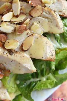 Lightened-Up Honey Mustard Dressing ~ the perfect balance of sweet and tangy, made with Greek yogurt instead of mayo...and not only is it delicious drizzled over a salad, but it also makes a yummy dipping sauce! | FiveHeartHome.com