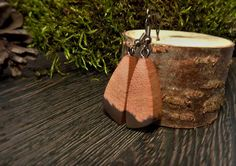 Butterfly wing moss color wooden earrings  nature by ForestFuzz