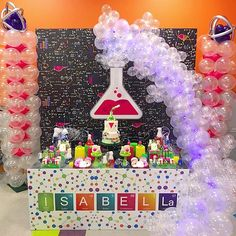 Isabella's Birthday 🔬 Science theme with dessert table design +… party Mad Science Party, Mad Scientist Party, Science Cake, 8th Birthday, Birthday Party Themes, Spy Party, Science Lab Decorations, Party Deco, Decoration Originale