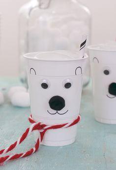 Norm Of The North Fun? Make DIY Polar Bear Cups! These are the cutest! So easy! Make DIY Polar Bear Cups. Perfect for the Norm of the North movie party themes. Polar Bear Express, Polar Express Party, First Birthday Parties, First Birthdays, Polar Bear Party, Polo Norte, Winter Wonderland Birthday, Bear Crafts, Skate Party