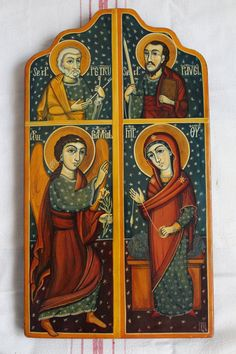 The Anounciation and Saint Peter and Paul. Byzantine icon handmade painted Romanian icon Only on demand. St Peter And Paul, Archangel Gabriel, Byzantine Icons, Orthodox Icons, Christian Art, Painting Techniques, Saints, Angels, Ethnic Fashion