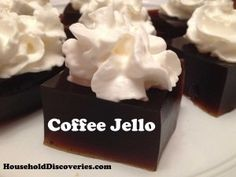 Coffee Jello Recipe: http://www.householddiscoveries.com/cooking/recipes/coffee-jello-recipe/