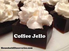 Coffee Jello Recipe: http://www.householddiscoveries.com/cooking/recipes/coffee-jello-recipe/