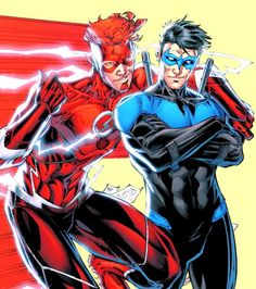 """nytewing: """"Dick Grayson and Wally West in Titans #9 """""""