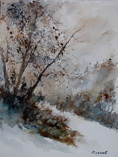 Buy watercolor 012031, a Watercolor on  by Pol Ledent from Belgium. It portrays: Landscape, relevant to: trees, winter, wood, landscape, nature watercolor 31  x 41 cm