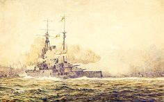 HMS Warspite in action at Jutland, May 1916 by Bevan Royal Navy, Military Art, Battleship, May, Action, Prints, Painting, Group Action, Paintings
