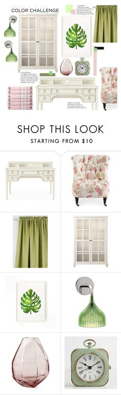 """""""Office Color Challenge: Green & Blush"""" by amiedavis523 ❤ liked on Polyvore featuring interior, interiors, interior design, home, home decor, interior decorating, Home Decorators Collection, Green Leaf Art, Kartell and Cost Plus World Market"""
