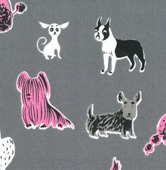 Dogs fabric, Tammis Keefe. 1940's - 1950's