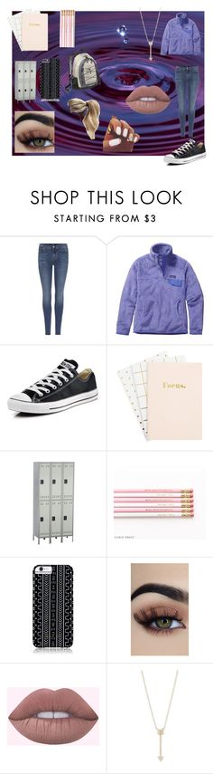 """""""school vibes~~~"""" by kennajayce on Polyvore featuring 7 For All Mankind, Patagonia, Converse, Safco, Savannah Hayes and EF Collection"""