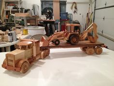 Kidman Creations - Custom wood models of any vehicle you could imagine. : Flatbed semi truck with a backhoe (someone is going to be happy at Christmas)