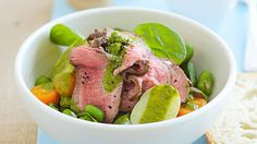This quick and fresh seasoned beef salad packs a punch courtesy of spinach and herbs blended with mustard and a lemon zing. Perfect to enjoy barbecued or grilled during summer. Herb Dressing Recipe, Potatoes In Microwave, Beef Salad, Grill Plate, Australian Food, Fava Beans, Latest Recipe, Spinach Salad, Vegetable Salad