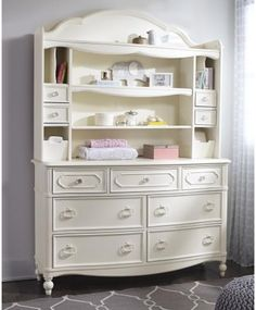 This dresser with hutch is perfect for your kids' bedroom!