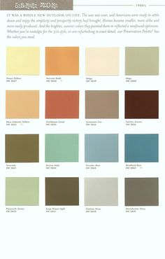 Color chips for my new interior.  I'll use blue trim throughout and paint each room in one of these fab colors...green, yellow, orange, eggplant...yummy!