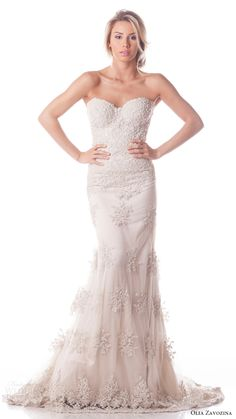 olia zavozina bridal spring 2017 3 strapless sweetheart lace sheath wedding dress (shan) mv