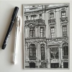 Intricate Architecture Drawings Capture the Beauty of Gothic Buildings Across Europe - Meticulously Detailed Architecture Drawings Celebrate Gothic Features - Architecture Drawing Sketchbooks, Gcse Art Sketchbook, Architecture Drawing Plan, Building Architecture, Architecture Portfolio, Sketching, Cool Art Drawings, Art Drawings Sketches, Detailed Drawings