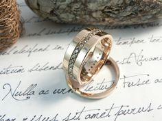 Anillos de boda en oro rosa de 18k y diamantes champan -:-:-:- Custom made, 18k pink gold and champagne diamonds wedding rings by martosjoyeros.com