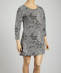 Black & White Abstract Zigzag Shift Dress - Plus - Shades of Summer