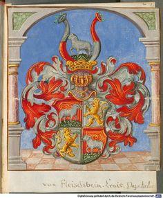 Wappen - Heraldik : Familienwappen von Fleischbein / Heraldry - Coat of Arms of The Family Fleischbein / Armas de la Familia von Fleischbein