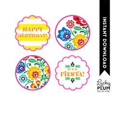 Fiesta Birthday Cupcake Topper / Tribal Flower Cupcake Topper / Mexican Fiesta Cupcake Topper / Papel Picado / Printable / DIY / *Digital