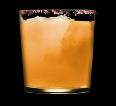 Fall Cocktail Recipes Chipotle Cocoa Margarita Recipe - 3 slices orange, 1 slice lemon, 1/4 oz agave, 2oz anejo tequila, unsweetened cocoa, chipotle powder, granular sugar. Muddle 2orange slices, 1 lemon wedge. Add rest of ingredients, shake & strain over ice in sugar/ cocoa rimmed glass. Sprinkle top with chipotle