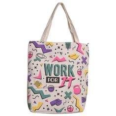 0ab996ab7335 Handy Zip Up Shopping Bag - Work It Gym Slogan
