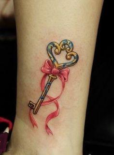 Pink Bow Tatuagem com chave #tattoo #tattoos #tattooed #inked #tats #ink #tatoo #tat #tattooart #tattooartwork #tattoodesign #tattooartist