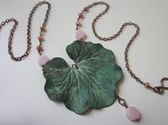Coral Bells - antiqued copper curb chain, verdigris aqua patina leaf charm, and milky rose Peruvian pink opal gemstone rondelles necklace by LoveRoot, $36.00