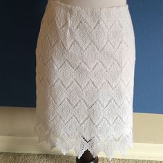 "White Lace Skirt This skirt is feminine and delicate.  The lace detailing is exquisite.  Perfect for Spring or Summer.  Length - 19.5"". Material:  100% Cotton. Karen Kane Skirts Midi"