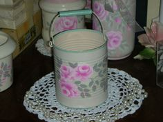 """TIN PAIL WITH PINK ROSES 4X4.75"""" ej pink hp shabby chic cottage hand painted cc2 #Handmade #Cottage #HANDPAINTED #FrenchCountry #cottage"""