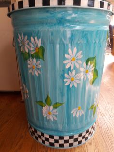 30 Gallon Decorative Hand Painted  Galvanized Metal Trash Can w/Side Handles and Tight Fit Lid by krystasinthepointe on Etsy