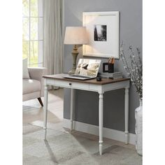 French Country Desk in Driftwood/White - Convenience Concepts French Country desk is the perfect way to brighten up any home office or even dorm room. The 36 inch workspace is the perfect size for any project and the keyboard tray allows fo White Writing Desk, Wood Writing Desk, Carlisle, Solid Wood Desk, Floating Desk, Desk With Drawers, French Country Decorating, Home Decor, Andover Mills