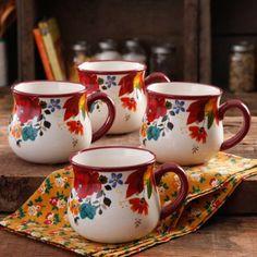 The Pioneer Woman Timeless Floral 28-Ounce Jumbo Belly Mug Set, 4-Pack - Walmart.com