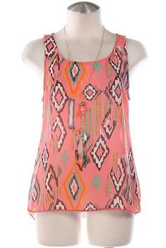SLEEVELESS GANADO TOP- Pink $21 1 medium only...comes w/ necklace shown!!! So cute!!!! Purchase on the DAKOTA JACKSON BOUTIQUE Facebook pg. LIKE us on Facebook! repin!! :)