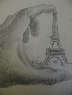 My Eiffel Tower April 2009 @Julia Reynolds-Penman #pencil #drawing
