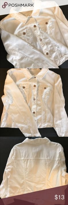 White Denim Jacket Cropped style denim jacket.  Fits generously.  No stains- excellent, just washed condition. Old Navy Jackets & Coats Jean Jackets