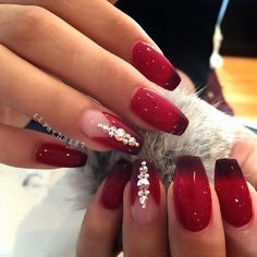 Red Ombre Nailz with Bling