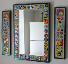 Mosaic Art Mirror made with Fused Glass - by GlassArtsStudio Mirror Mosaic, Mosaic Wall, Mosaic Glass, Mosaic Tiles, Mirror Glass, Mosaics, Mosaic Crafts, Mosaic Projects, Fused Glass Art